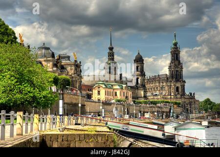 view terrassenufer in dresden - Stock Photo