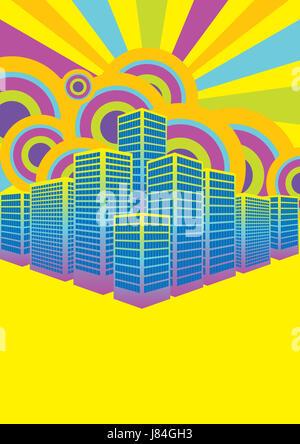 city town shine shines bright lucent light serene luminous sunny summer - Stock Photo