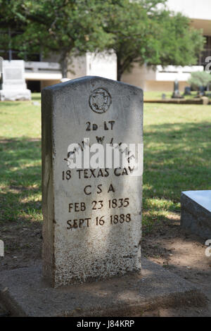The headstone of John W Lane, former Confederate soldier and former Texas legislator at the Pioneer Park Cemetery - Stock Photo