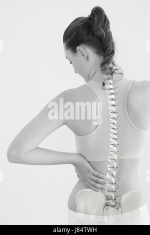 Digitally generated image of female suffering from neck pain against white background