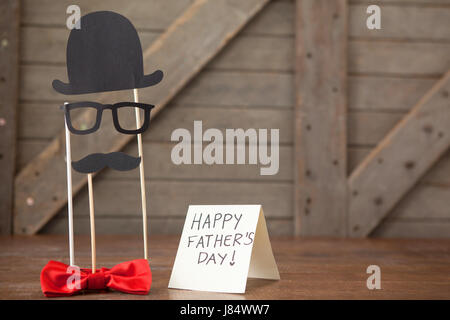 Close-up of happy fathers day message on card - Stock Photo