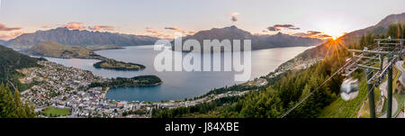 Gondola, view of Lake Wakatipu and Queenstown at sunset, Ben Lomond Scenic Reserve, Mountain Range The Remarkables, - Stock Photo