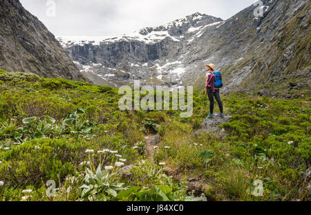 Female hiker looking at mountains, Fiordland National Park, Southland, New Zealand - Stock Photo