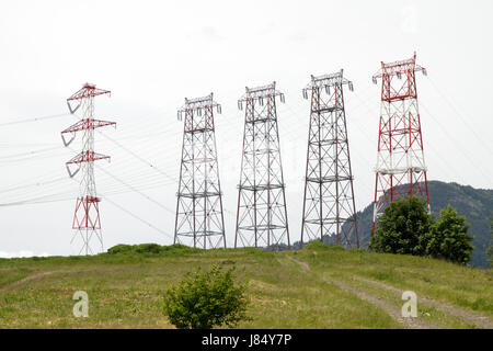 station lines energy power electricity electric power transmission station - Stock Photo