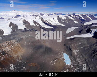 Aerial View of Mummy Pond and the Taylor Valley, McMurdo Dry Valleys, Antarctica - Stock Photo