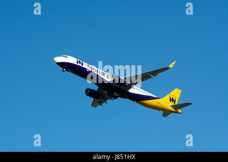 Monarch Airlines Airbus A321 taking off at Birmingham Airport, UK (G-ZBAO) - Stock Photo