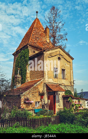 Sighisoara, Romania - July 26, 2014: Old Ropers' Tower, one of the oldest buildings in Sighisoara, dating from the - Stock Photo