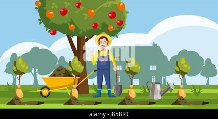 Gardener plant icons set, cartoon style - Stock Photo