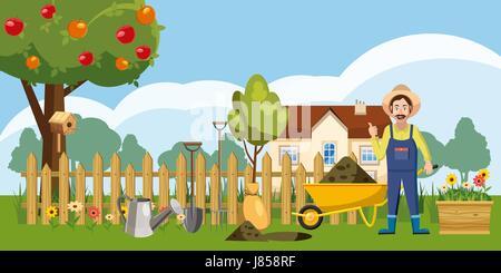 Gardener homestead icons set, cartoon style - Stock Photo