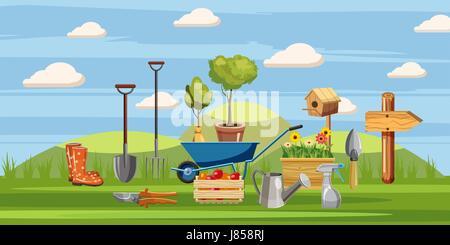 Gardener tools icons set, cartoon style - Stock Photo