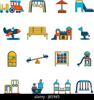 Playground equipment icons set, cartoon style - Stock Photo