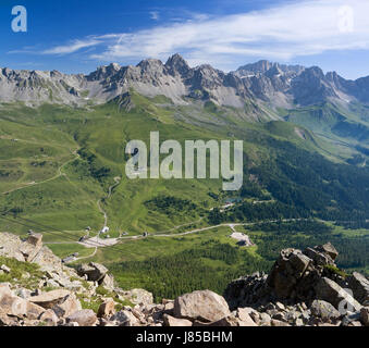 dolomites alps summer summerly valley sight view outlook perspective vista - Stock Photo