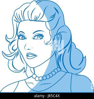 beautiful woman in the comics style. - Stock Photo