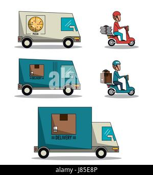 circular frame background with set fast delivery truck of packages and pizza - Stock Photo