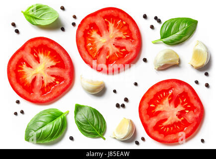 tomato, garlic and basil isolated on white background, top view - Stock Photo