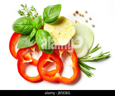 composition of vegetables, herbs and spices isolated on white background, top view - Stock Photo