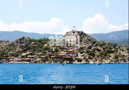 water mediterranean salt water sea ocean fortress turkey castle ancient chateau - Stock Photo