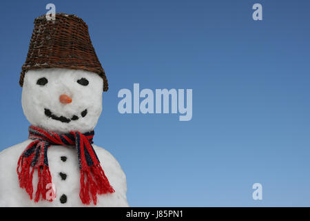 winter location shot outside decoration still life snowman advertising space - Stock Photo