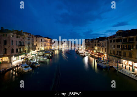 view from the rialto bridge at the blue hour - Stock Photo