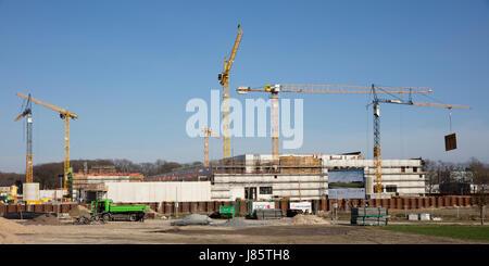 Construction site, new building of a branch Deutsche Bundesbank, Dortmund, Ruhr area, North Rhine-Westphalia, Germany - Stock Photo