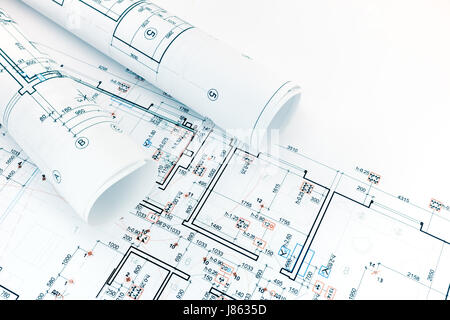architecture blueprints. Engineering And Technical Drawings, Floor Plans, Rolls Of Architecture Blueprints - Stock Photo