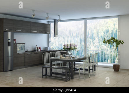 Modern trendy dining kitchen area in an apartment with built in cabinets and appliances along the wall and table - Stock Photo