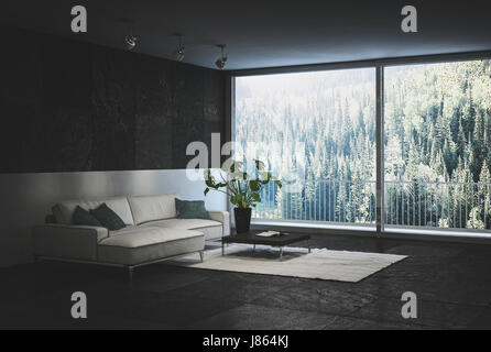 Designer trendy black living room interior with tiled walls and floor and a comfortable white sofa and rug with - Stock Photo