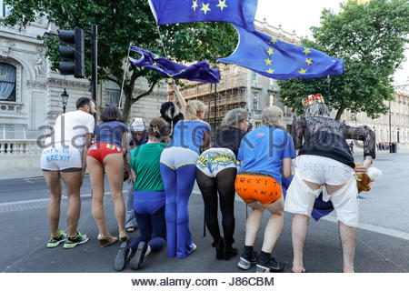 London, UK. 26th May, 2017. No 10 Vigil For Victory group perform Anti Brexit Demonstration wearing pants opposite - Stock Photo