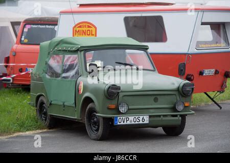A Trabant 601 Kuebel, used in the East German Army, can be seen on the premises of the International Trabant Gathering - Stock Photo