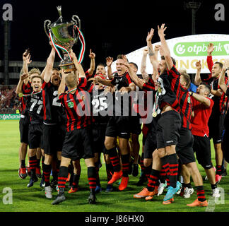 Budapest, Hungary. 27th May, 2017. The players of Budapest Honved celebrate the winning of the championship after - Stock Photo