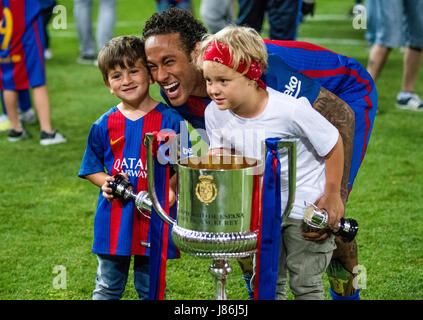 Madrid, Spain. 27th May, 2017. Neymar Jr. (FC Barcelona) celebrates the victory of his team with his children during - Stock Photo