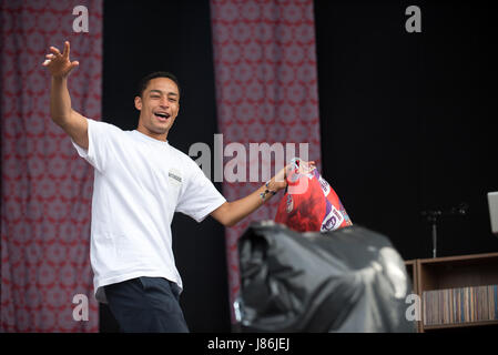Southampton, Hampshire, UK. 27thth May, 2017. Loyle Carner performs on the main stage. Common People Music Festival - Stock Photo