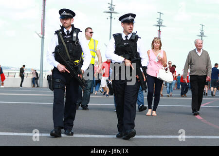 Wembley, London, UK. 27th May, 2017. The Emirates FA Cup Final - Arsenal v Chelsea . Armed police officers on patrol - Stock Photo