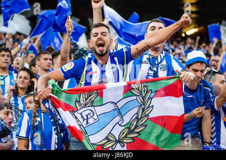 Madrid, Spain. 27th May, 2017. Supporters of Alaves during the football match of Final of Spanish King's Cup between - Stock Photo