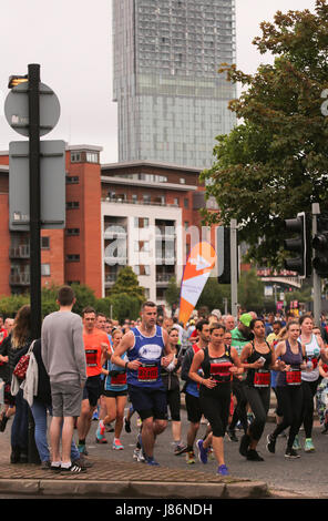 Manchester, UK. 28th May, 2017. Runners in the Half Marathon event in the Great Manchester Run at end of Deans gate - Stock Photo