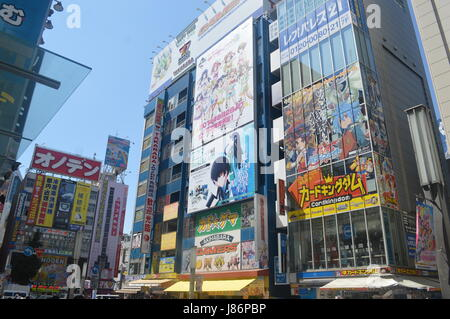 Advertising and promotion in Akihabara district in Tokyo Japan - Stock Photo