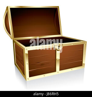 illustration chest empty treasure design lock object isolated wood antique - Stock Photo