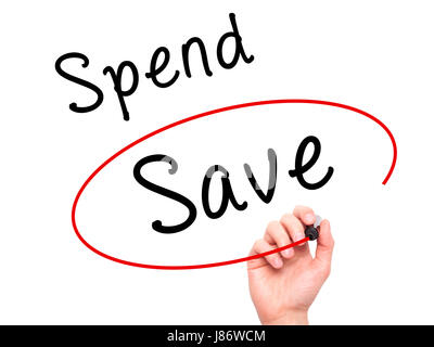 Man Hand writing and choosing Save instead of Spend with black marker on visual screen. Isolated on white. Business, - Stock Photo