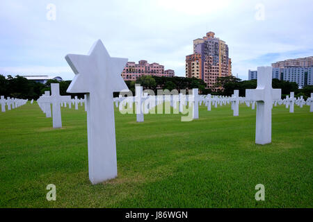 Jewish headstone at the Manila American Cemetery and Memorial which has the largest number of graves of any cemetery - Stock Photo