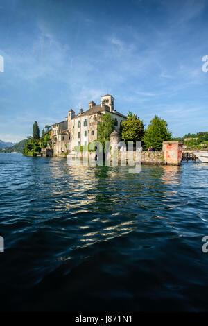 San Giulio island on Orta lake Novara province Piedmont region italy - Stock Photo