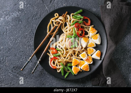 Stir fry udon noodles - Stock Photo