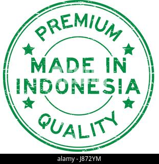 Grunge green premium quality made in Indonesia round rubber stamp - Stock Photo
