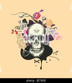 Human skull drawn in woodcut style smokes fuming tobacco pipe against bunch of semi-colored flowers and black blot - Stock Photo