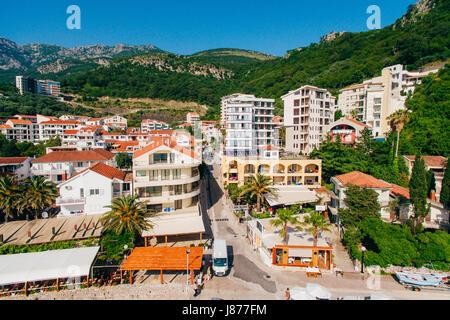 Settlement Rafailovici, Budva Riviera, Montenegro. The coast of the city on the Adriatic Sea. Aerial photography. - Stock Photo