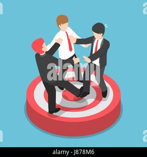 Flat 3d isometric businessmen fighting for standing on the target, business competition concept - Stock Photo