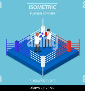 Flat 3d isometric businessmen fighting on boxing ring, business competition concept - Stock Photo