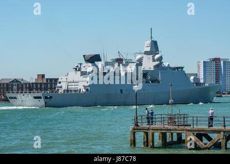 HNLMS De Ruyter (F804) arriving at Portsmouth, UK. - Stock Photo