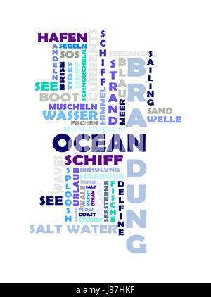 blue, lexical, collage, texts, salt water, sea, ocean, water, blue, shine, - Stock Photo