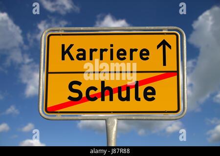 german ortsschild school career - Stock Photo