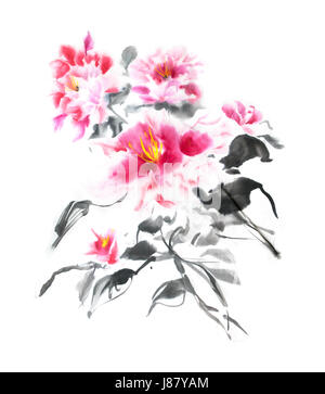 Beautiful bunch of pink peonies painted with ink in Japanese style. Gorgeous bouquet of tender watercolor flowers. - Stock Photo